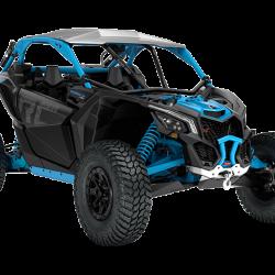 2018 Maverick X3 X rc TURBO R Carbon Black and Octane Blue_3-4 front